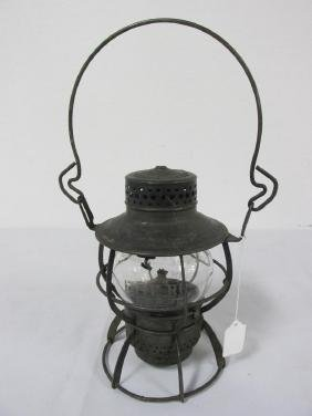 ERIE RAILROAD CLEAR ETCHED GLASS LANTERN