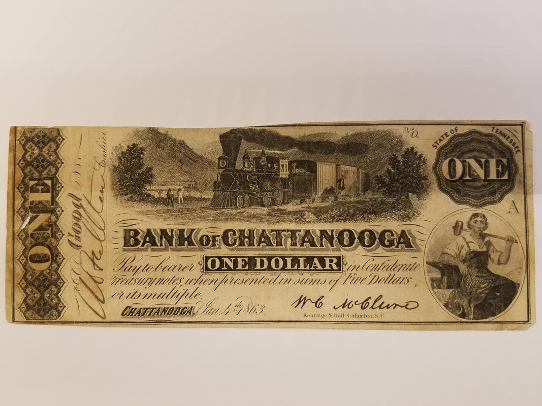 1863 BANK OF CHATTANOOGA STEAM LOCOMOTIVE CURRENCY