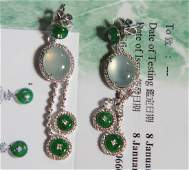 A Pair Of Chinese Icy Jadeite Ear Pendants