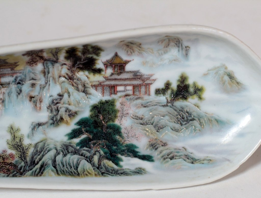 A Chinese Famille Rose Leaf Shape Brush Washer - 3
