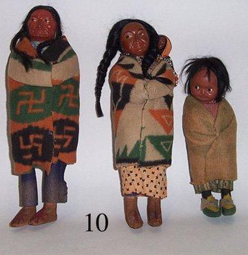 10: THREE SKOOKUM DOLLS