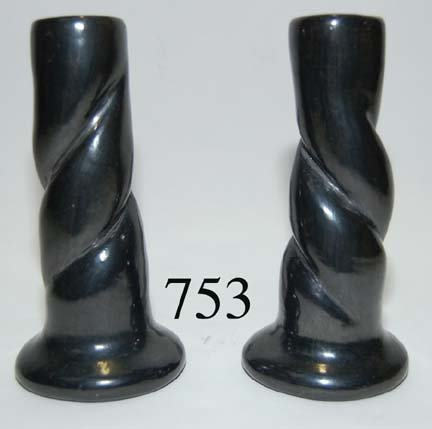 753: SANTA CLARA POTTERY CANDLE STICKS