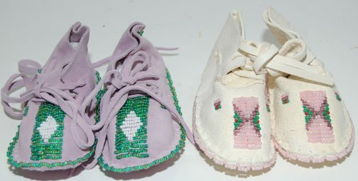 2013: TWO PAIR OF BABY MOCCASINS