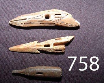 759: THREE ESKIMO HARPOON HEADS