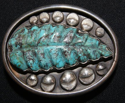 7: NAVAJO SILVER & TURQUOISE BUCKLE