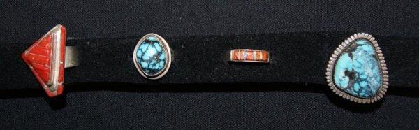 9: THREE SILVER NAVAJO RINGS & PIN