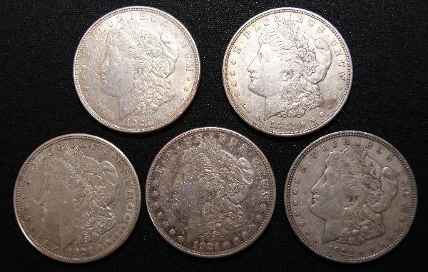 20: 1921 - FIVE SILVER DOLLARS