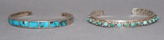 9: 2 NAVAJO STERLING AND TURQUOISE BRACELETS