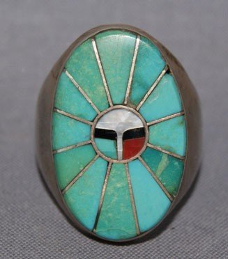 11: ZUNI STERLING SILVER AND TURQUOISE RING