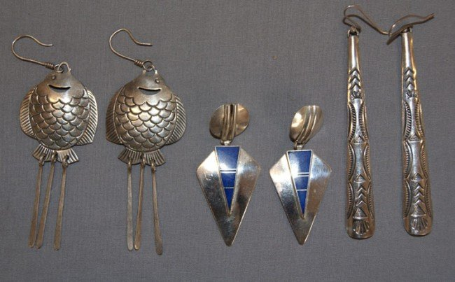 258: THREE PAIRS NAVAJO/ZUNI EARRINGS