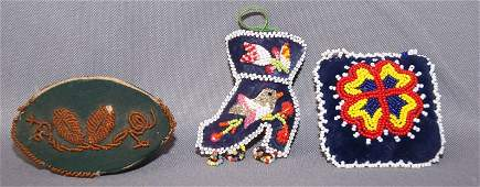 66 THREE IROQUOIS BEADED ITEMS