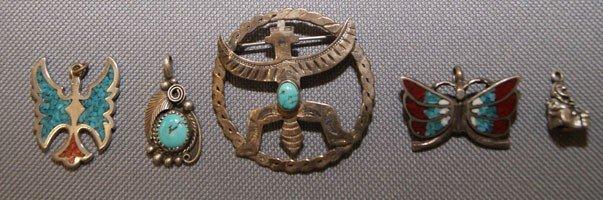 13: Zuni silver pins & pendents