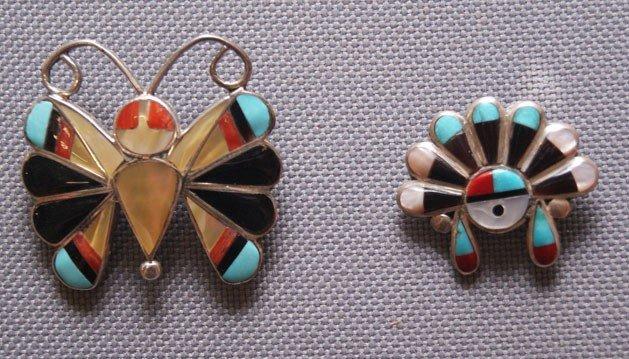 24: 2 Zuni silver pins
