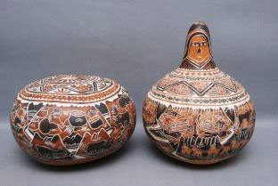 22: TWO MEXICAN GOURDS