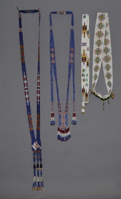 FOUR PIECES OF PLAINS INDIAN BEADWORK