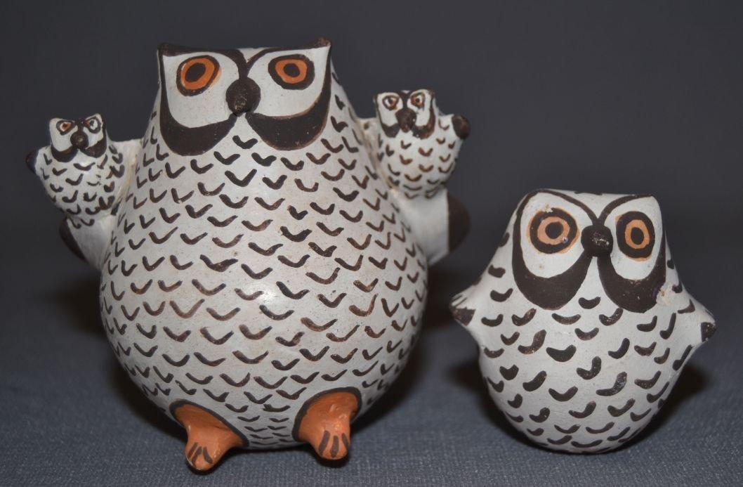 TWO ACOMA POTTERY OWLS