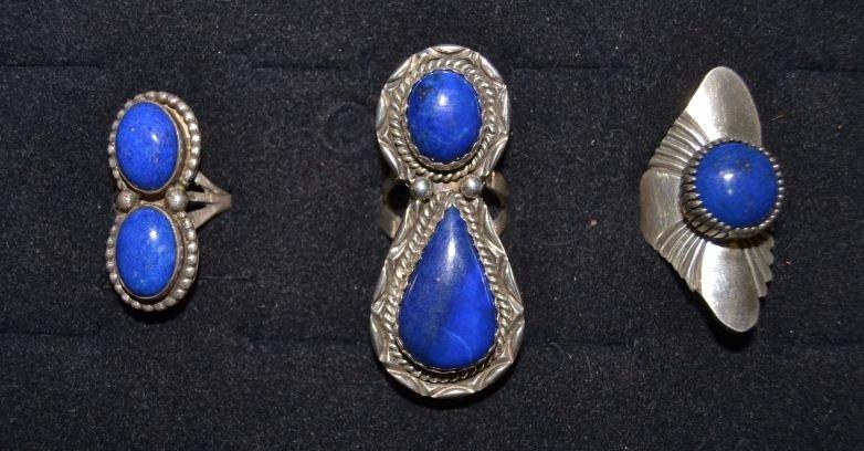THREE SILVER NAVAJO RINGS