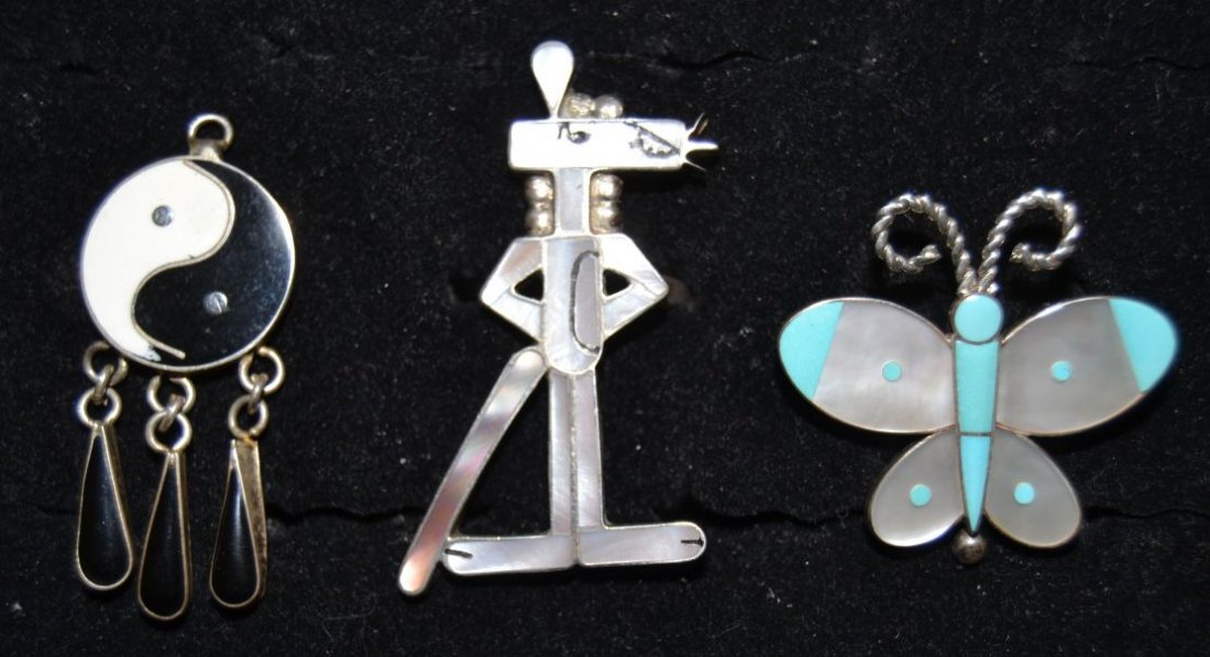 THREE PIECES OF ZUNI SILVER JEWELRY