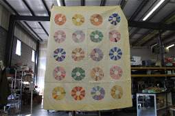 """Handmade Quilt - Flower Designs - 79"""" x 66"""""""