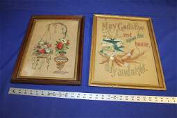 Lot of 2 Victorian Punch Paper Samplers in Walnut Frame