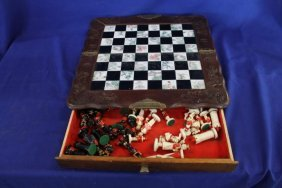 Oriental Carved Wood Dragons And Painted Tile Chess Set