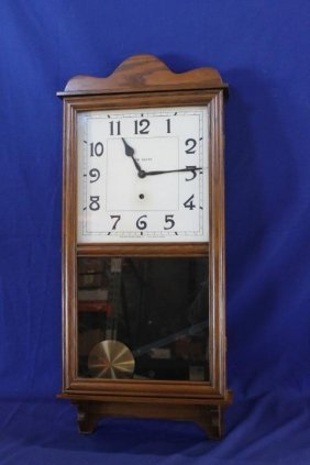 New Haven Eight Day Store Regulator Time Only Clock 35""