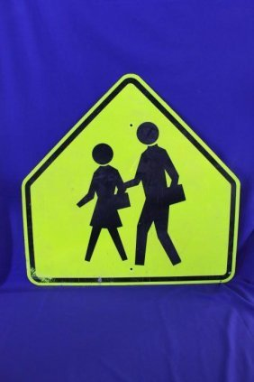 """Large Yellow And Black School Crossing Sign 36"""" Wide"""