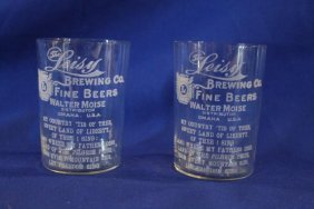 Lot Of 2 Leisy Brewing Co. Omaha, Ne - Walter Moise
