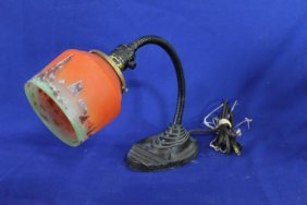 Eagle Cast Iron Desk Lamp With Glass Shade And Flexible