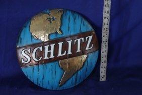 Nos Vintage Schlitz Beer Convex Globe Sign