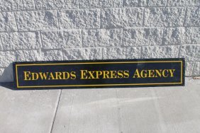 "Edwards Express Agency Metal Sign - 72"" X 12"" Old/rare"