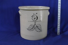 5 Gallon Leaf Elephant Ear Stoneware Crock
