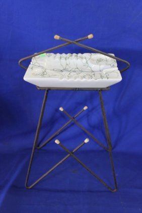Mid-century Modern Wire & Ceramic Modern Ashtray C.1960