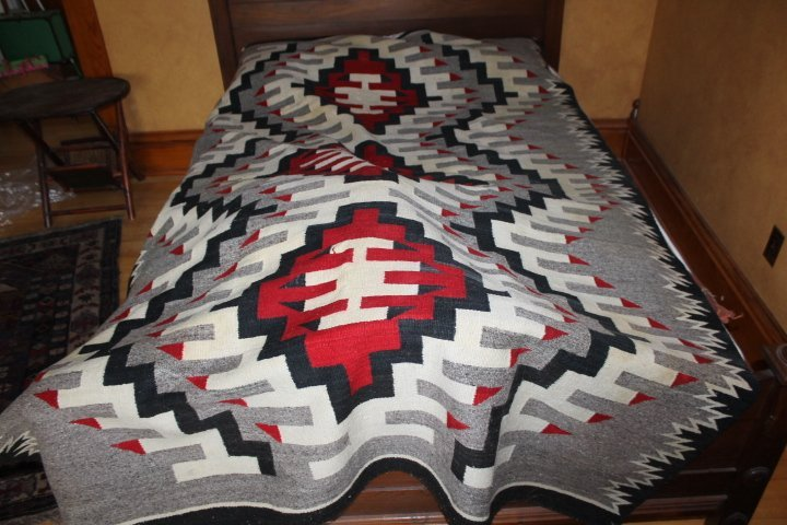 "Old Hand Woven Navajo Blanket 93"" x 61"" - Age Unknown"