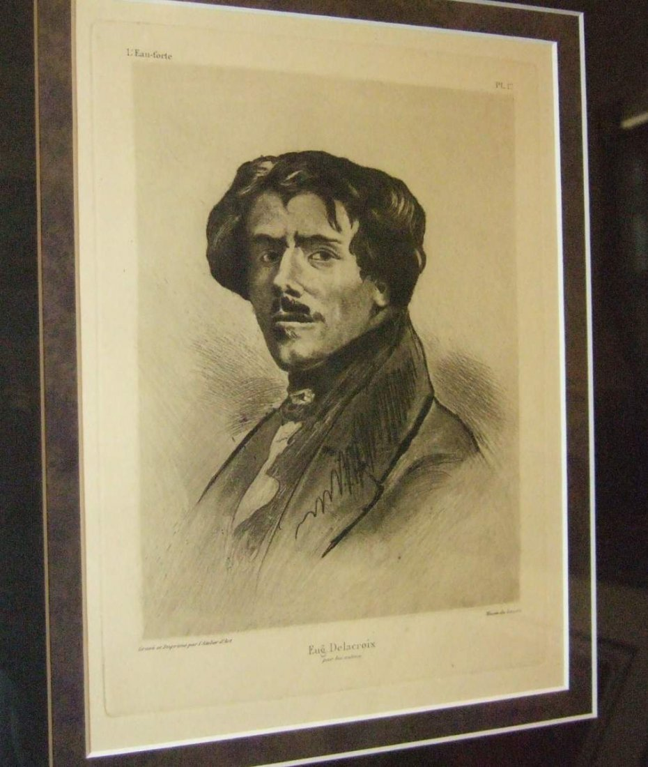 Portrait of Delacroix Etching from Copper Plate