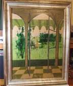 Original Leonard Kester The Garden Room  Oil on Board