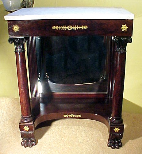 1: Classical Marble Top Pier Table Mahogany