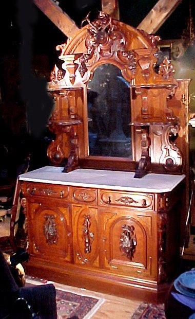 3: Victorian Marble Top Walnut Hunt Board 1869