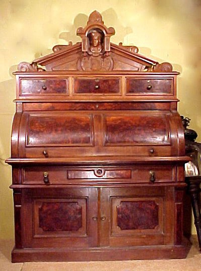 4: Victorian Cylinder Desk Burl Walnut