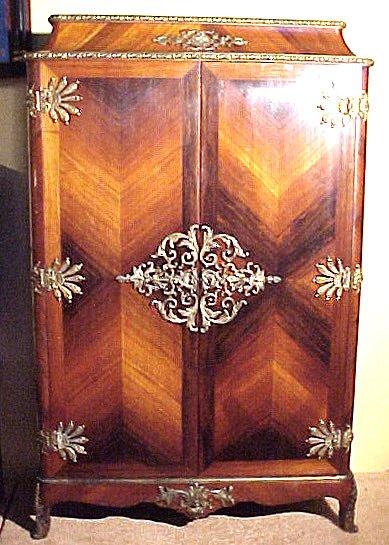 8: Elaborate Marquetry & Bronze Dore Cabinet