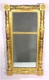 93: Early 1800's Sheraton Mirror Gold Gilt 2 Parts