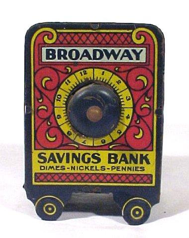 1002: Still Bank Tin Lithograph Broadway Savings