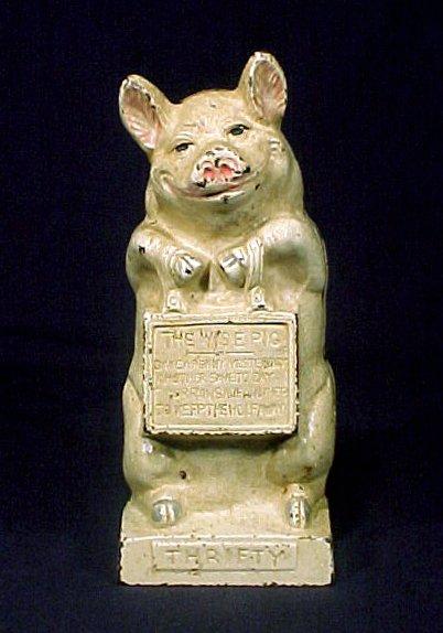 1004: Authentic Still Bank Cast Iron Pig
