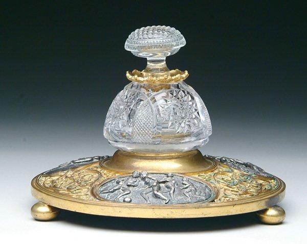 1006: Rare Gilt Bronze Cut Glass Sports Inkwell