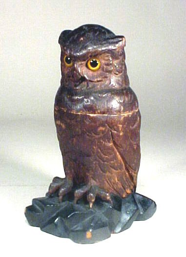 1007: Antique Carved Black Forest Owl Inkwell