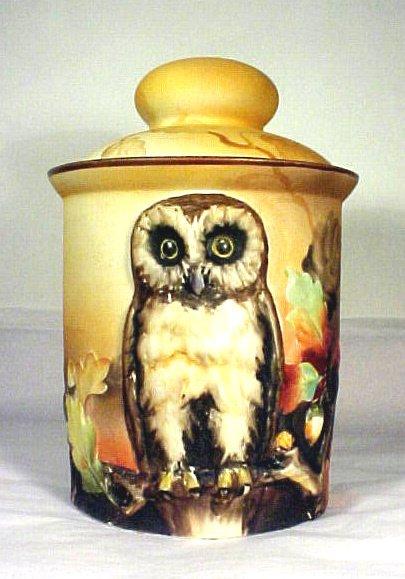 1009: Noritake Tobacco Humidor Figural Owl Antique