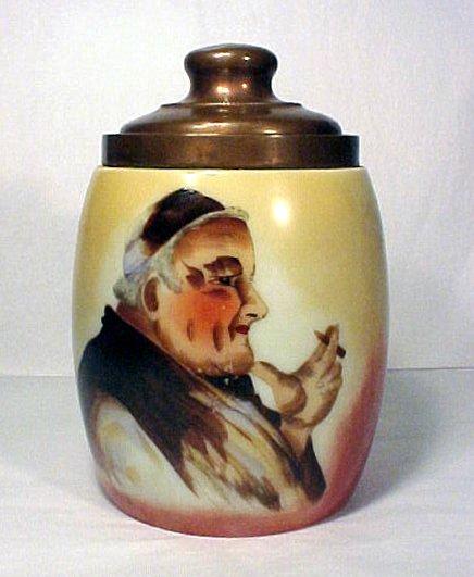 1010: Antique Porcelain Tobacco Humidor Monk