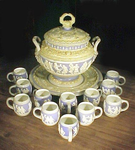 1011: German Mettlach Stoneware Punch Bowl & Mugs