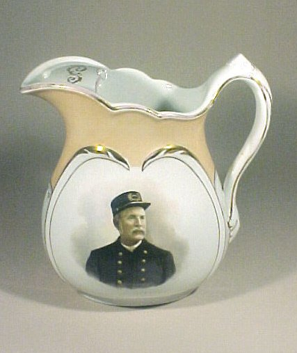 1013: Antique Ironstone Pitcher Police Cheif