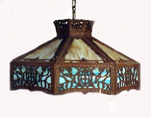1015: Fabulous Hanging Slag Glass Panel Lamp